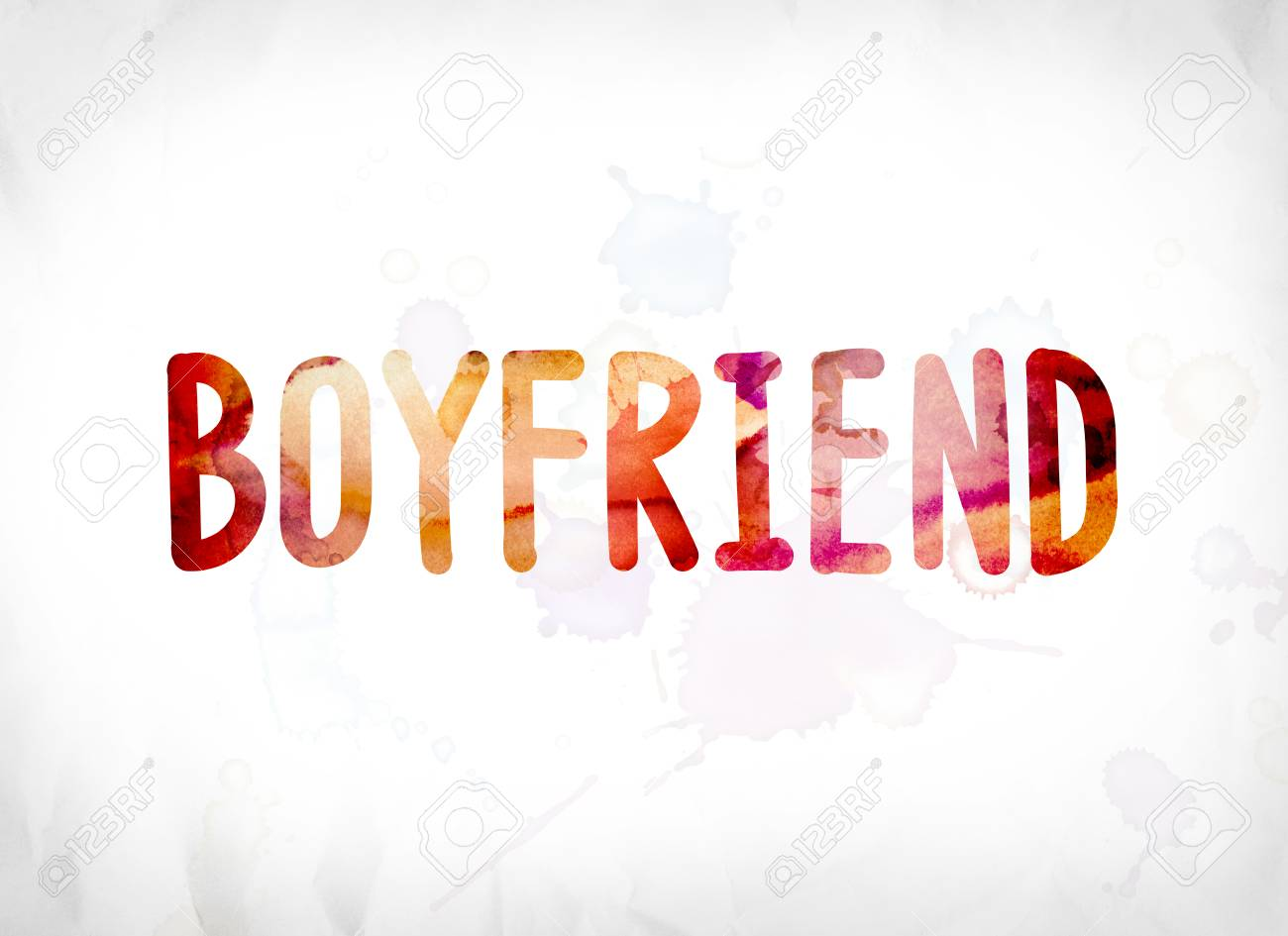 The Word Boyfriend Concept And Theme Painted In Colorful Watercolors