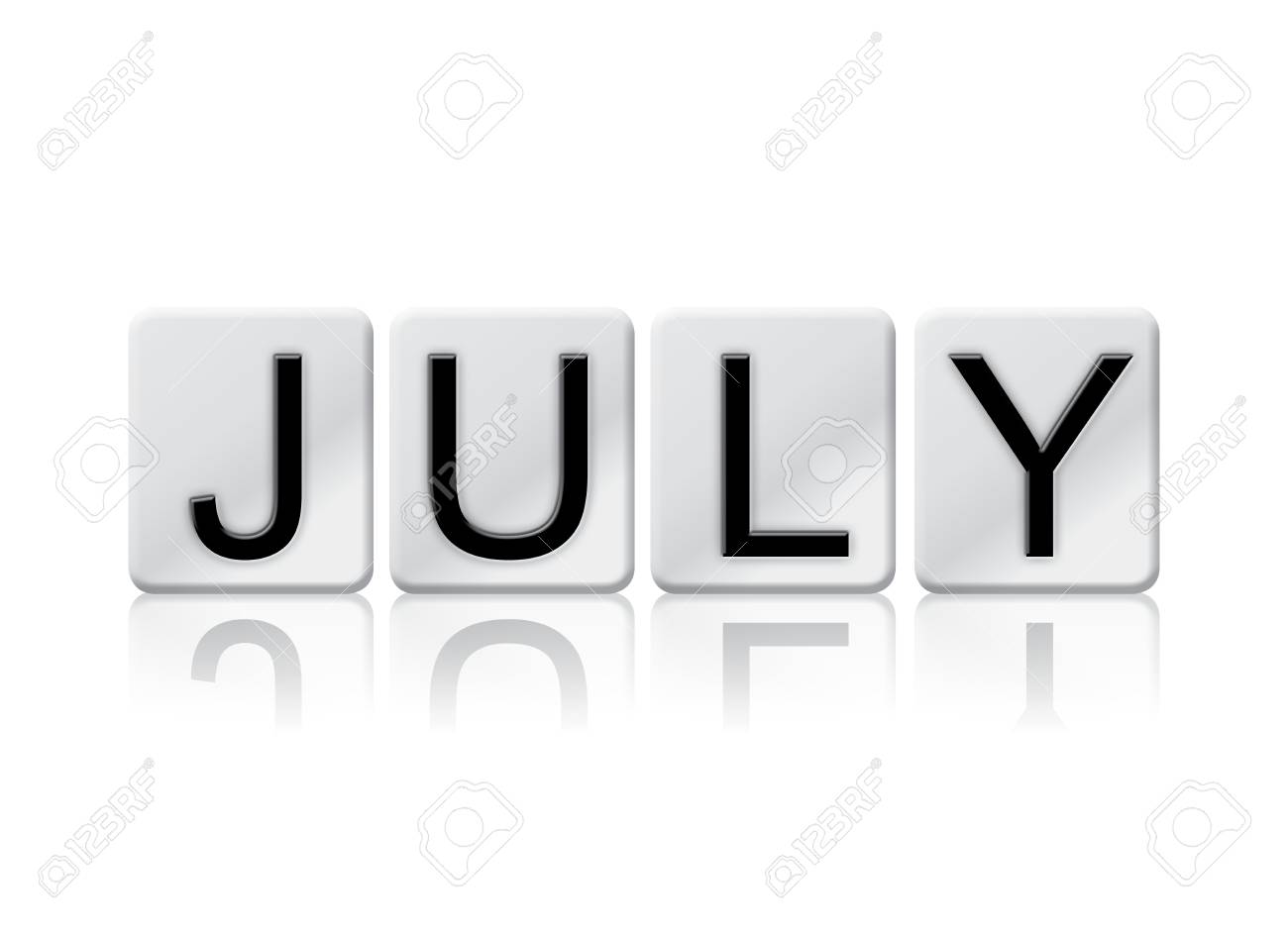 the word july concept and theme written in white tiles and isolated