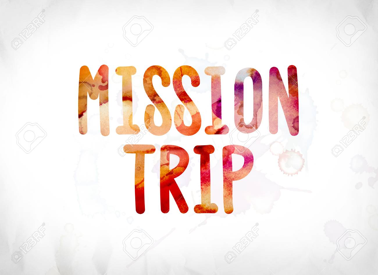 the words mission trip concept and theme painted in colorful stock