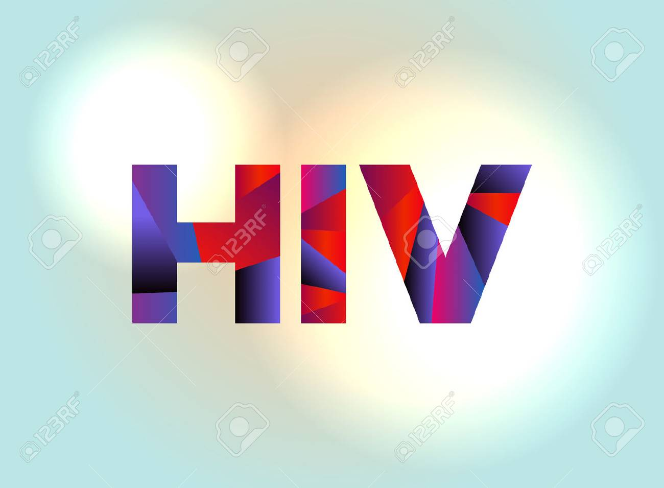 The letters HIV written in colorful abstract word art on a vibrant background. Vector EPS 10 available. - 88526675