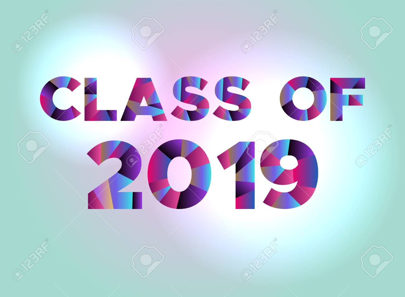 The words CLASS OF 2019 written in colorful abstract word art