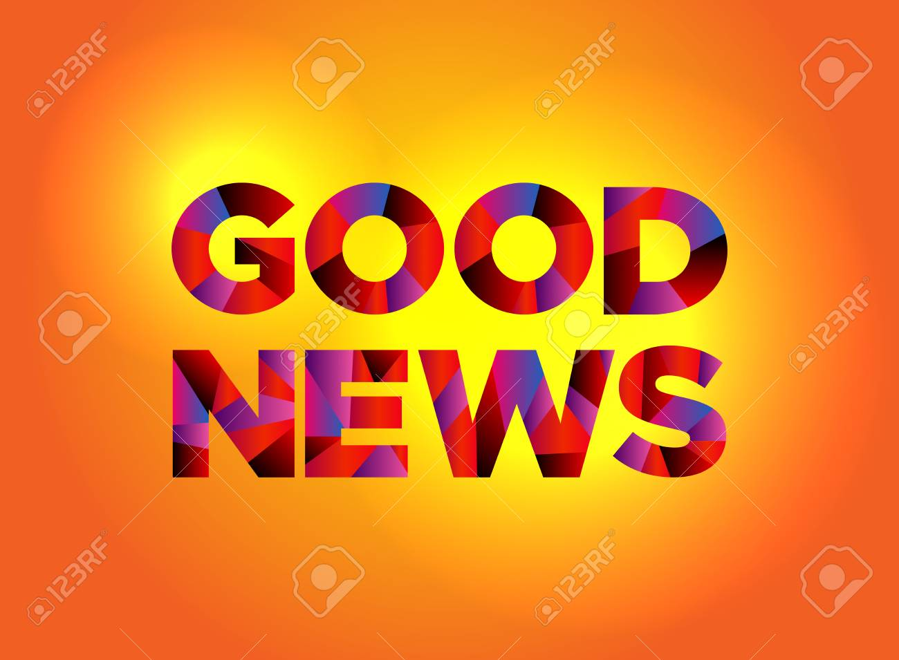 The words GOOD NEWS written in colorful fragmented word art on a vibrant background. Vector EPS 10 available. - 88534047