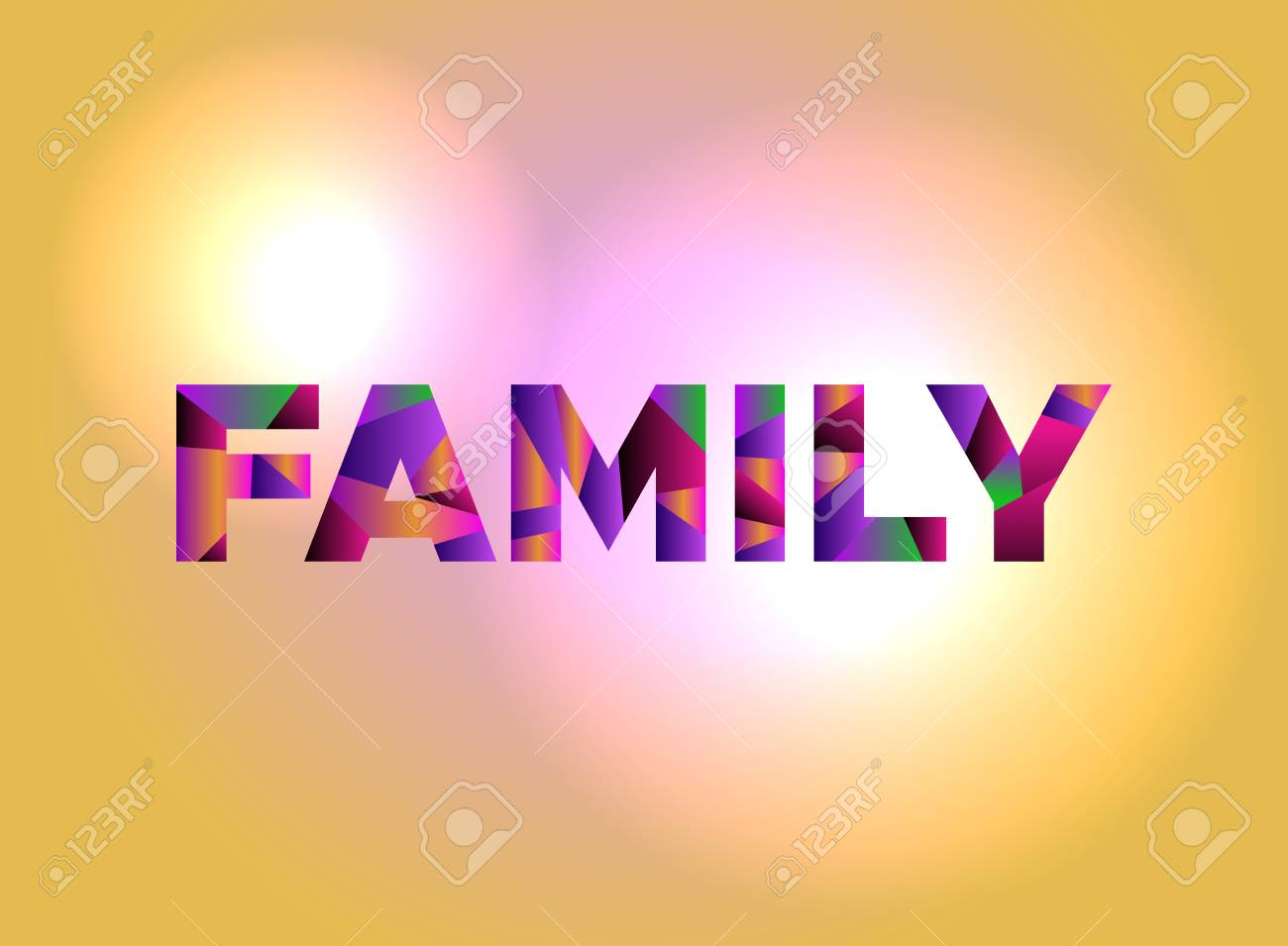 The word FAMILY written in colorful abstract word art