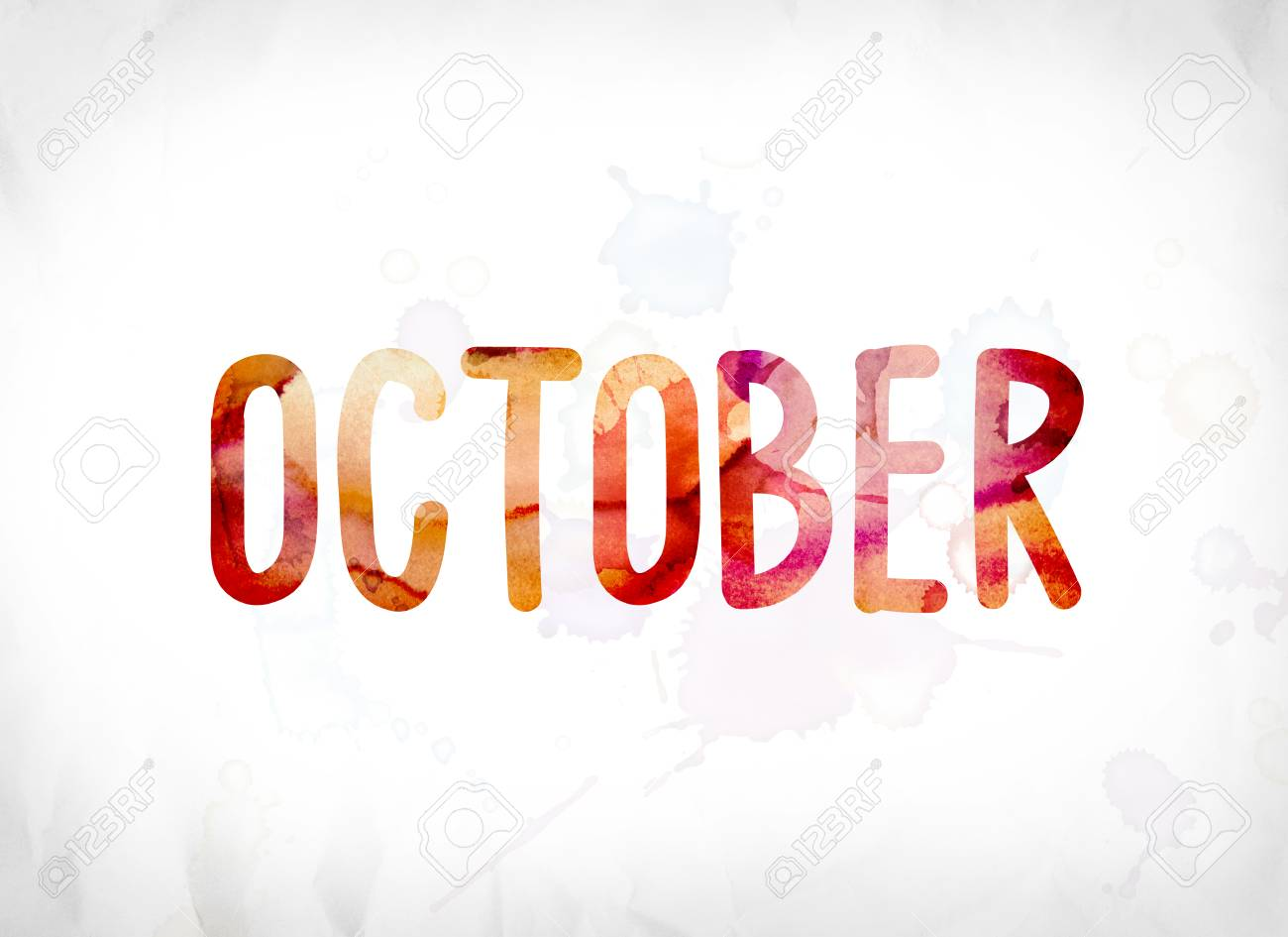 the word october concept and theme painted in colorful watercolors