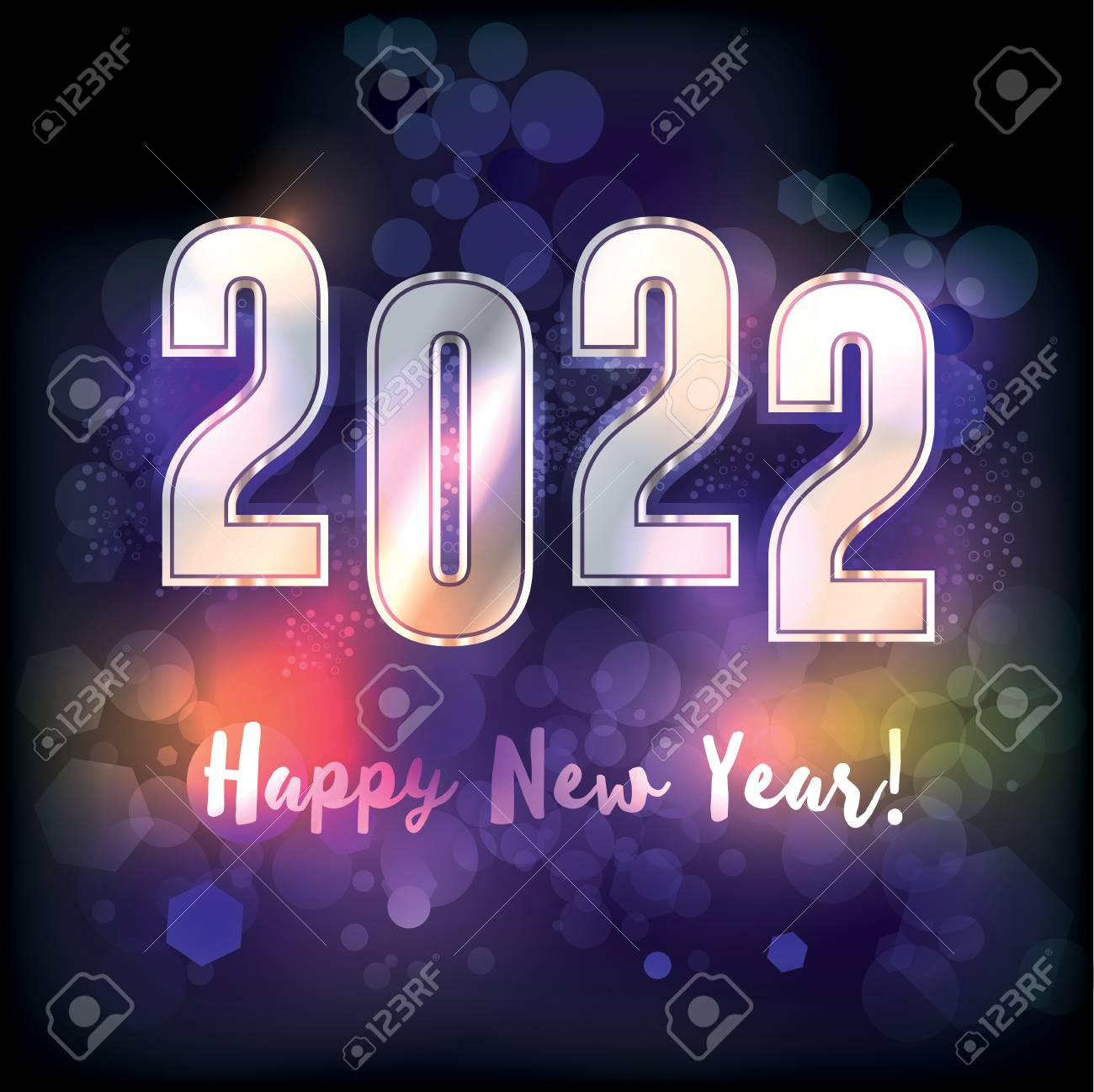 A Happy New Year 2022 New Year\'s Message Illustration. Vector ...