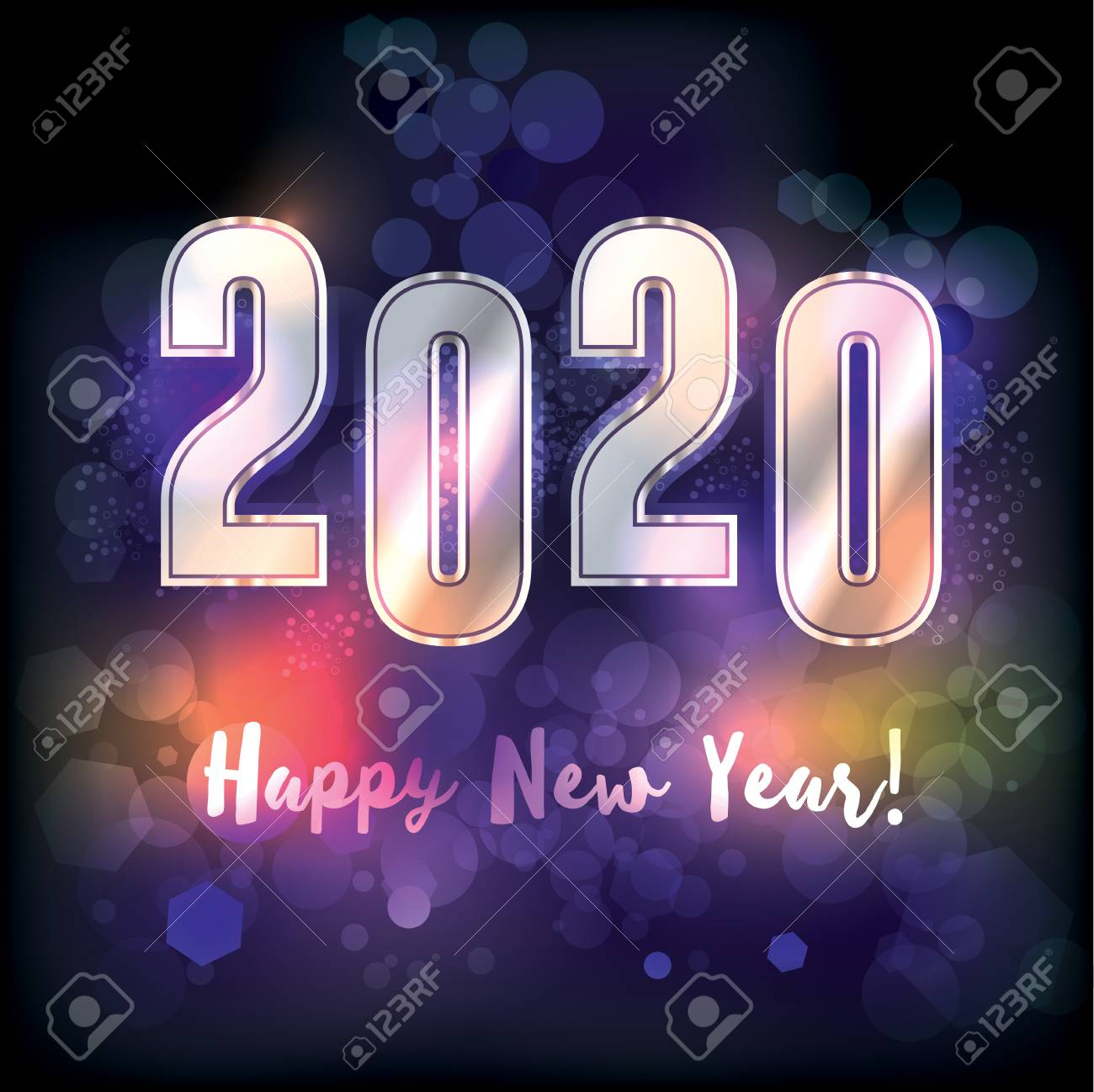 A Happy New Year 2020 New Year\'s Message Illustration. Vector ...
