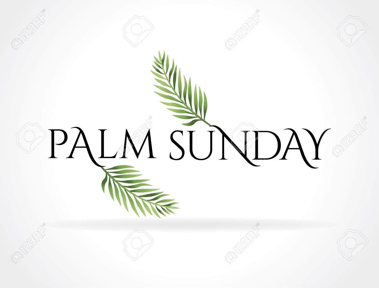A Christian Palm Sunday religious holiday with palm branches and leaves illustration. Vector EPS 10 available. - 93118963