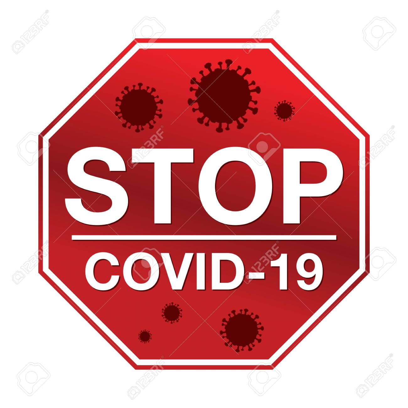 A stop sign with the message stop COVID-19 illustration. - 142540978