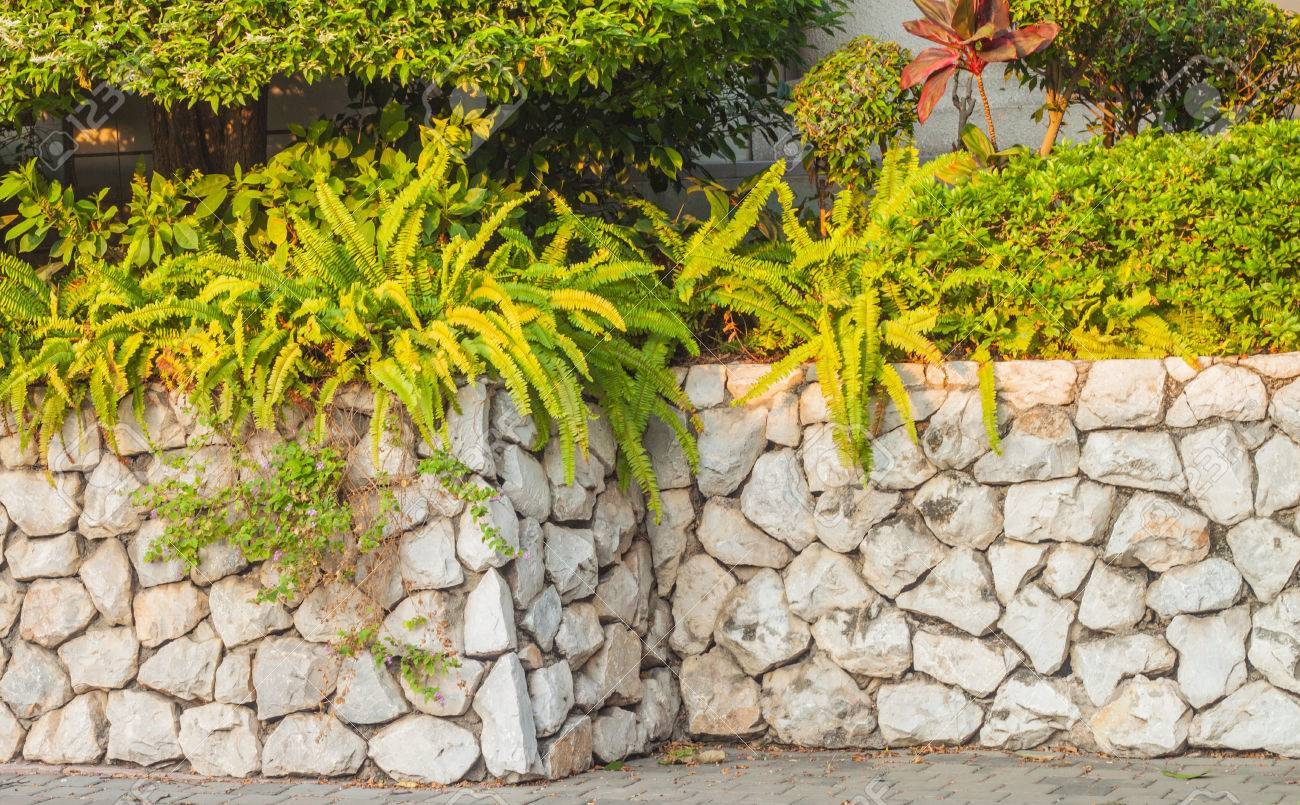 Decorative Garden On A Stone Fence Stock Photo, Picture And Royalty ...