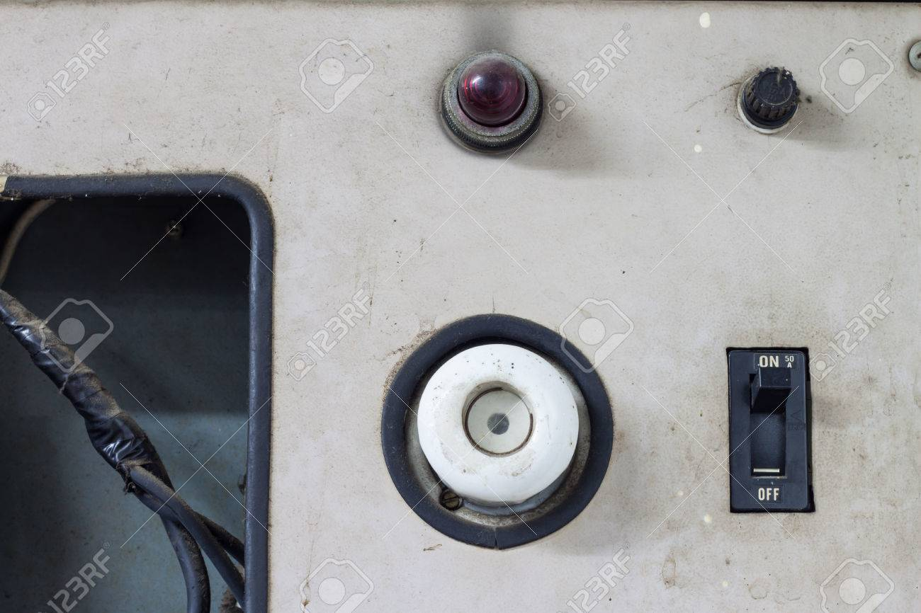 Old Electric Control Box With Push Buttons And Switches Stock Photo ...