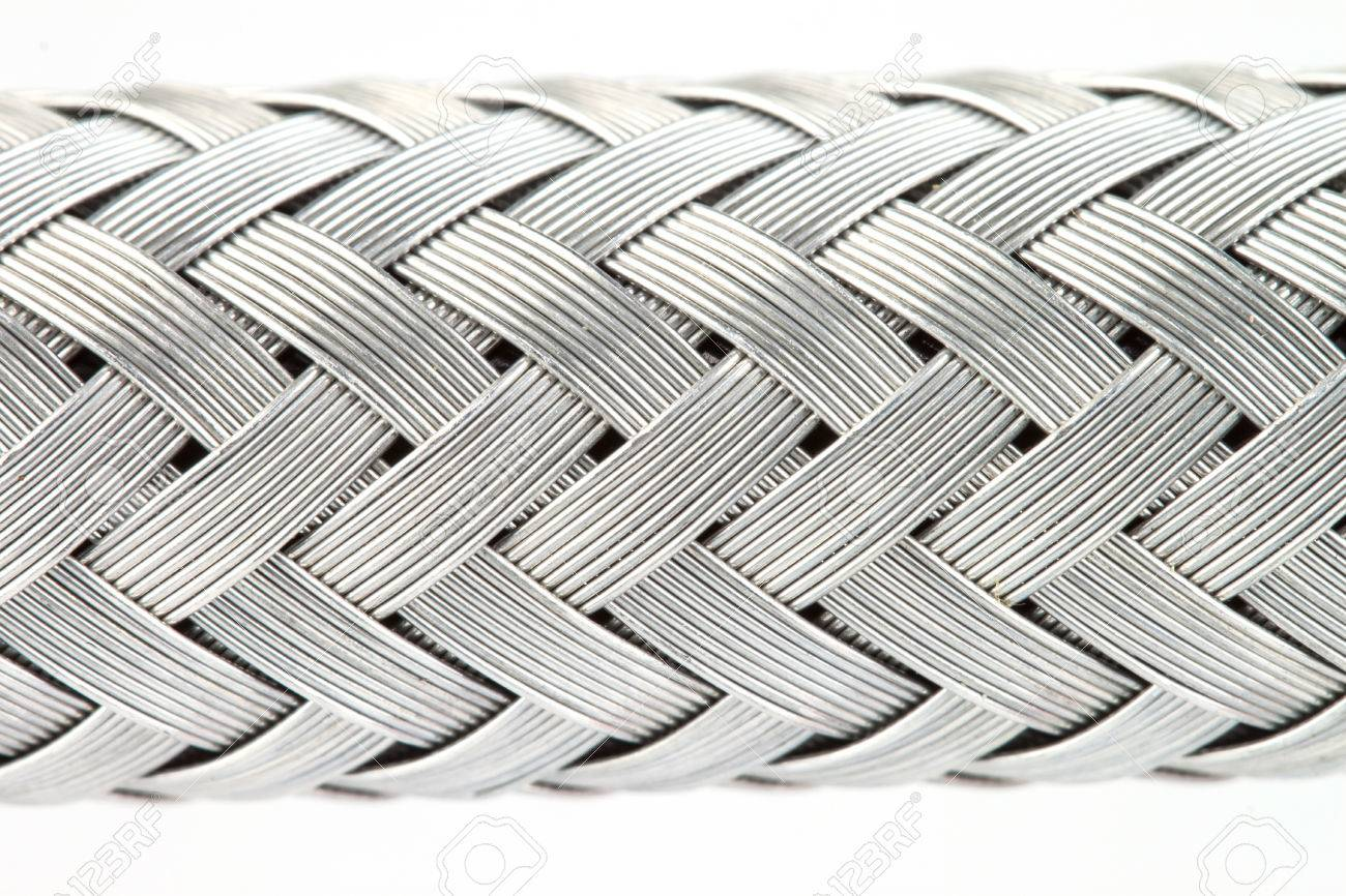 Macro Image Of A Metal Wire Braided Reinforced Hose Stock Photo ...