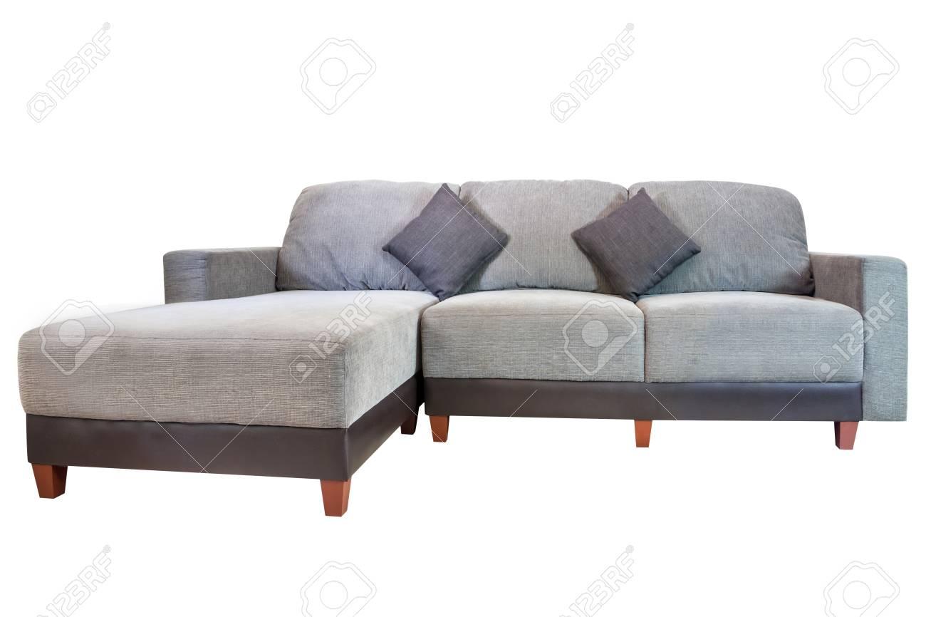 grey fabric sofa furniture isolated on white background