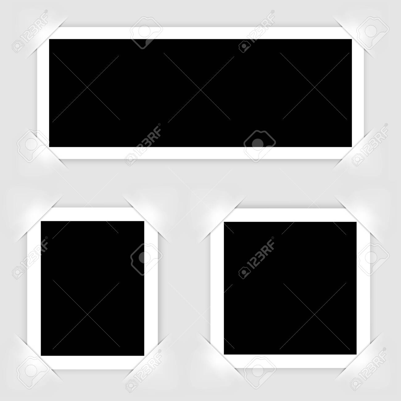 Retro realistic photo frame isolated on white background for template photo design. vector illustration - 129847947