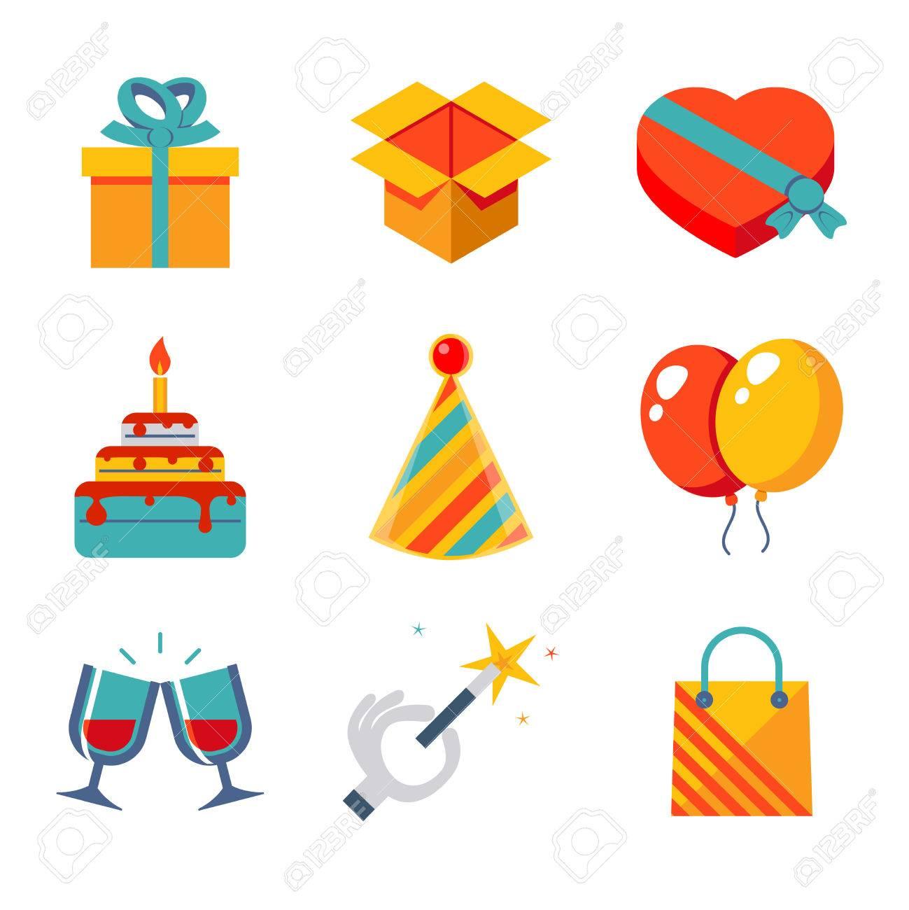 Geisoleerde Vlakke Pictogrammen Set Cadeau Feest Verjaardag