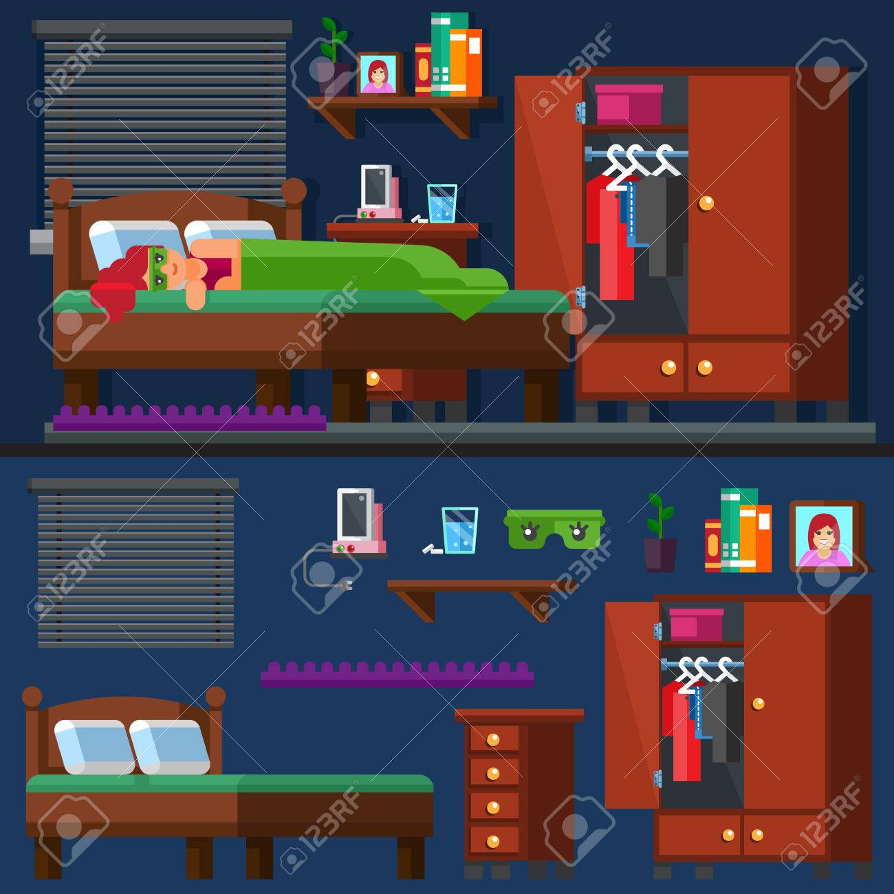 Vector - Vector. Illustration. Teen and adult activity. A girl sleep in the  bed Woman room. Bedtime. Vector illustration