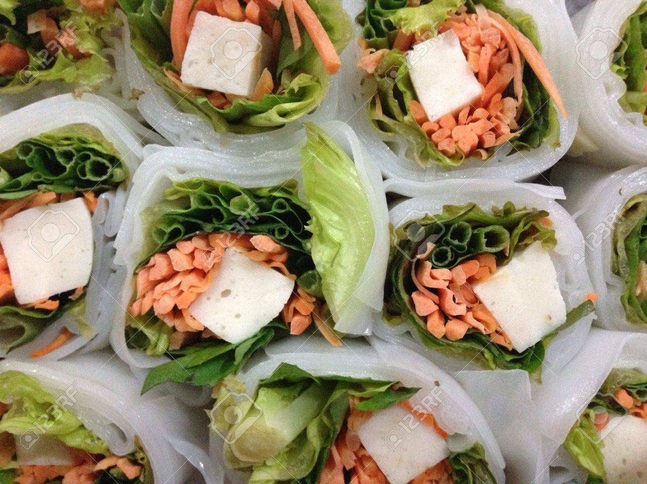 Lettuce And Basil Roll With Fish Cake Wrapped With Rice Flour Stock Photo Picture And Royalty Free Image Image 21036354