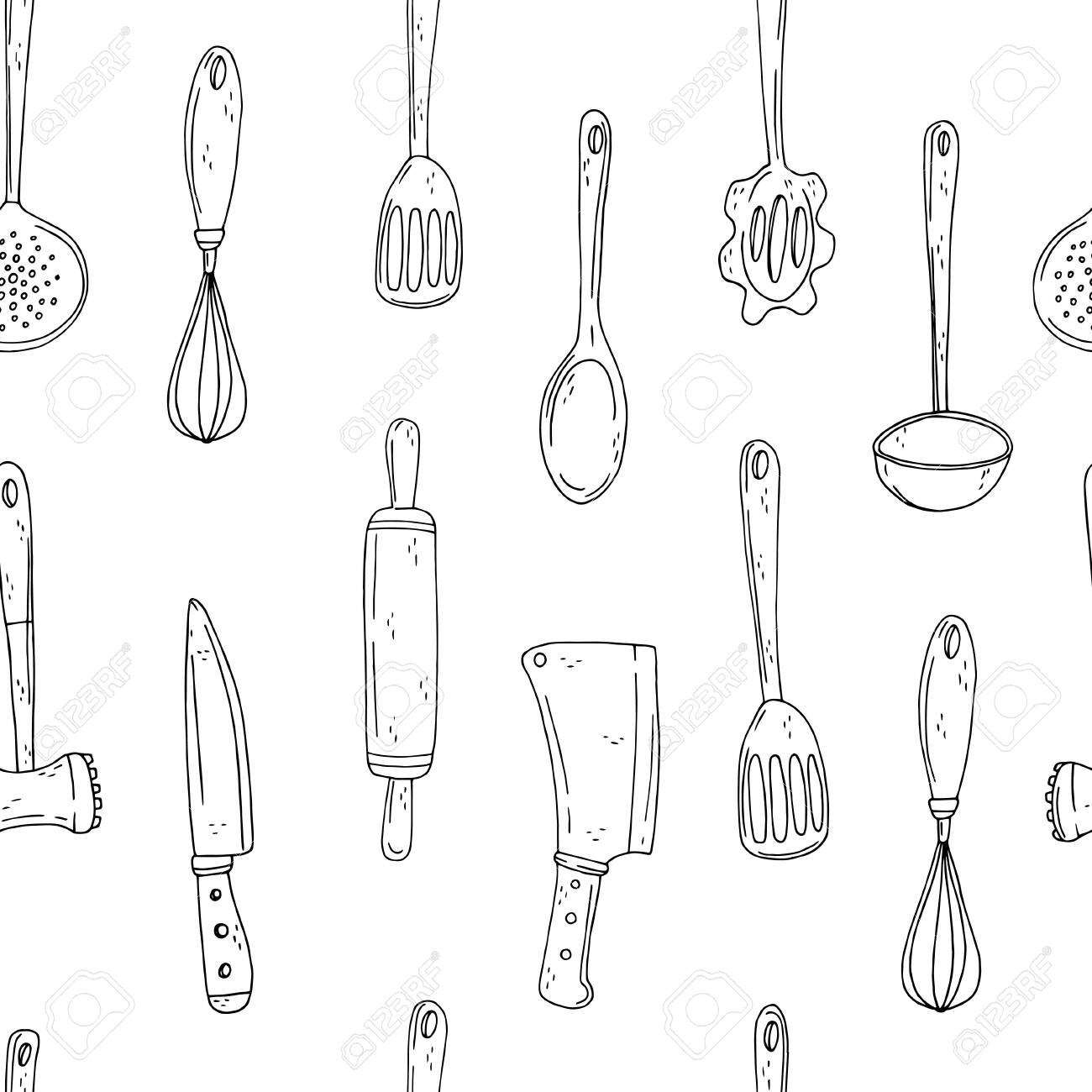 Seamless vector pattern of elements with hand drawn kitchen tools on a white background. Sketch style - 124416115