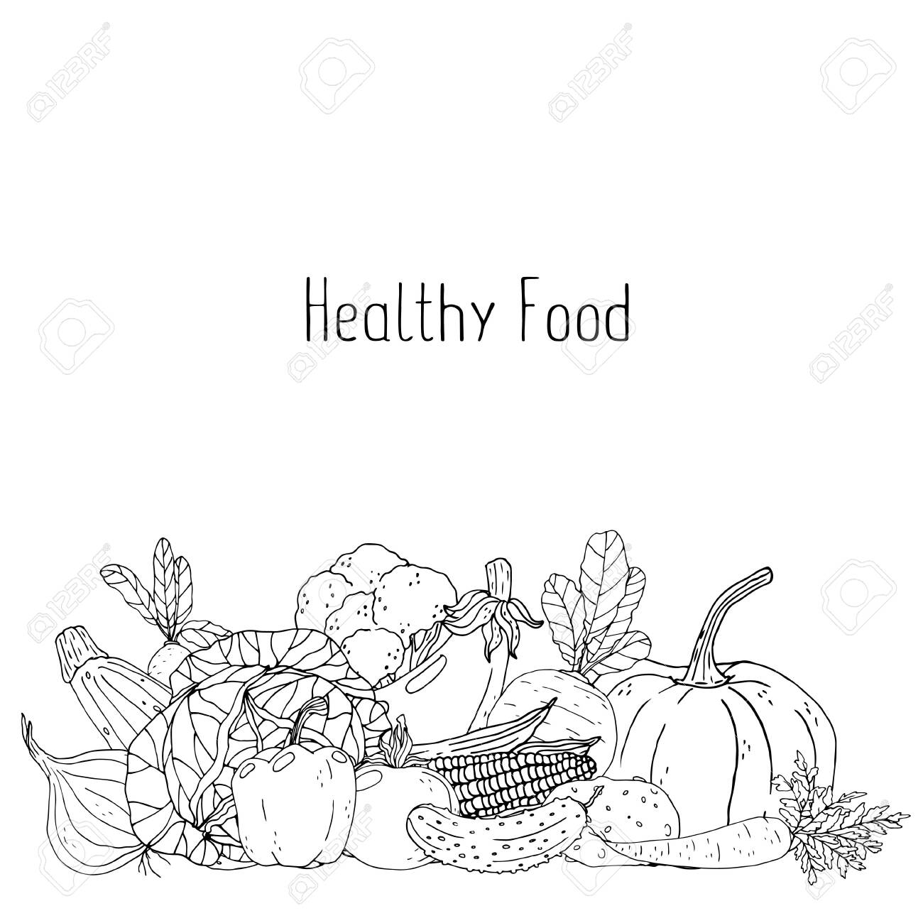 Poster With Hand Drawn Vegetables On A White Background Healthy Royalty Free Cliparts Vectors And Stock Illustration Image 123282492