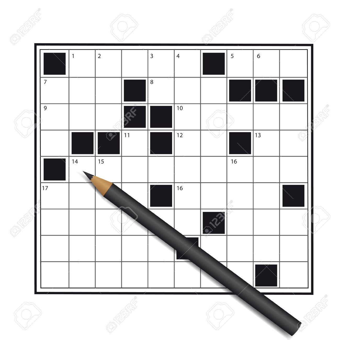 Crossword Empty Unfinished Stock Vector
