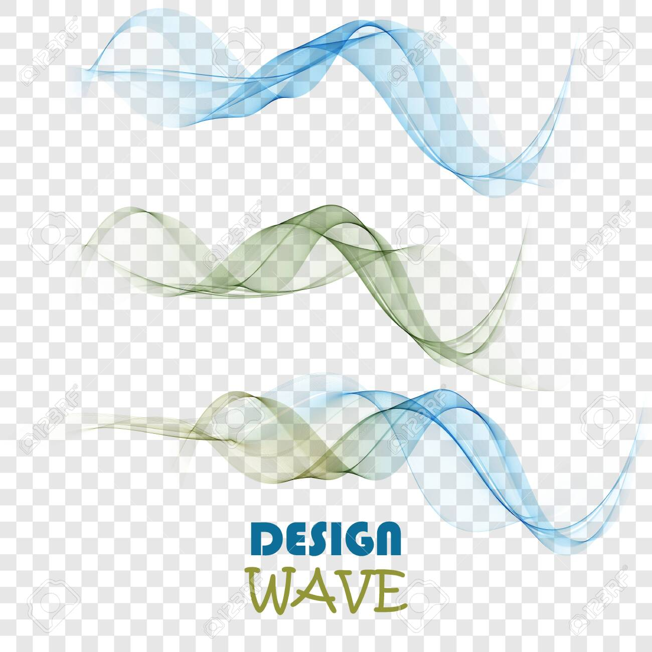 Set of abstract color smoke waves transparent green and blue wavy design. - 153631421