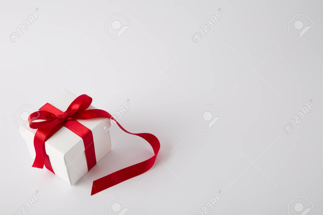 Gift Box On The White Background Red Ribbon Valentines Day Stock