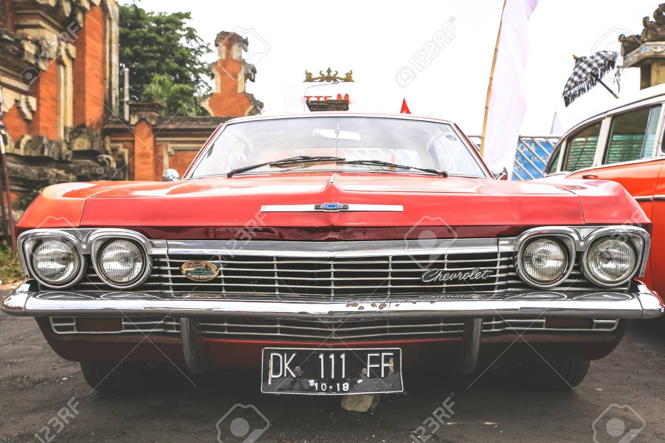 Bali Indonesia August 6 2017 Retro Red Chevrolet Car Displayed