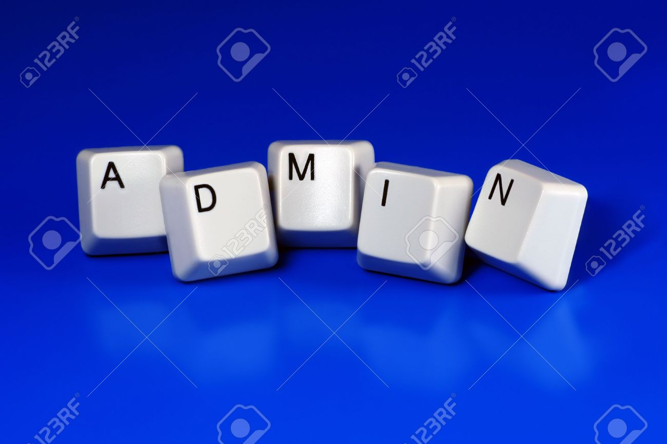 Administrator - Stock photo admin administrator written with keyboard keys on blue background