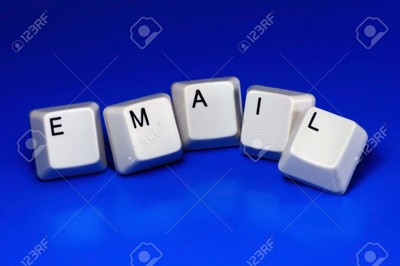 Email Written With Keyboard Keys On Blue Background Stock Photo ...