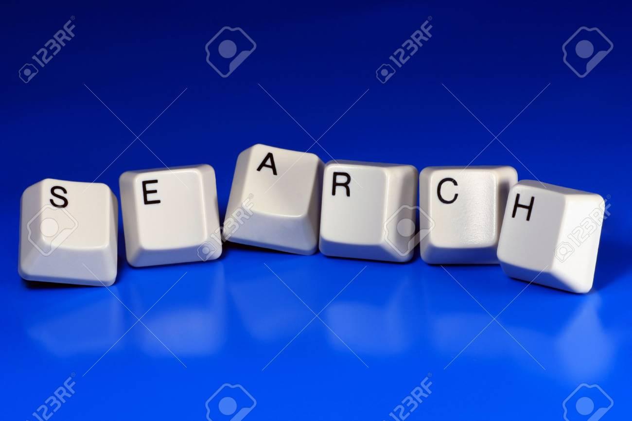 search written with keyboard keys on blue background Stock Photo - 2546261