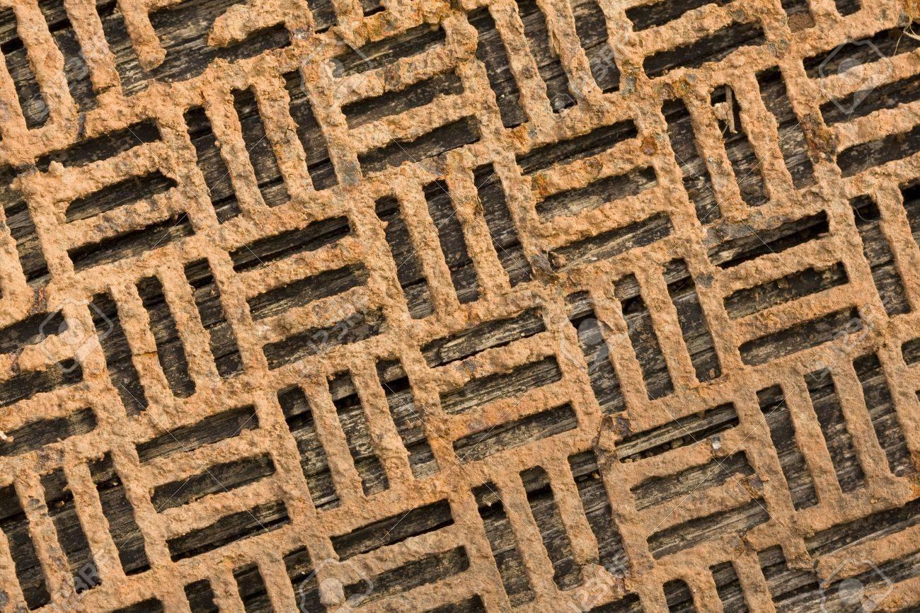 Decorative Metal Grates Close Up Of An Old Decorative Rusty Metal Grate Stock Photo