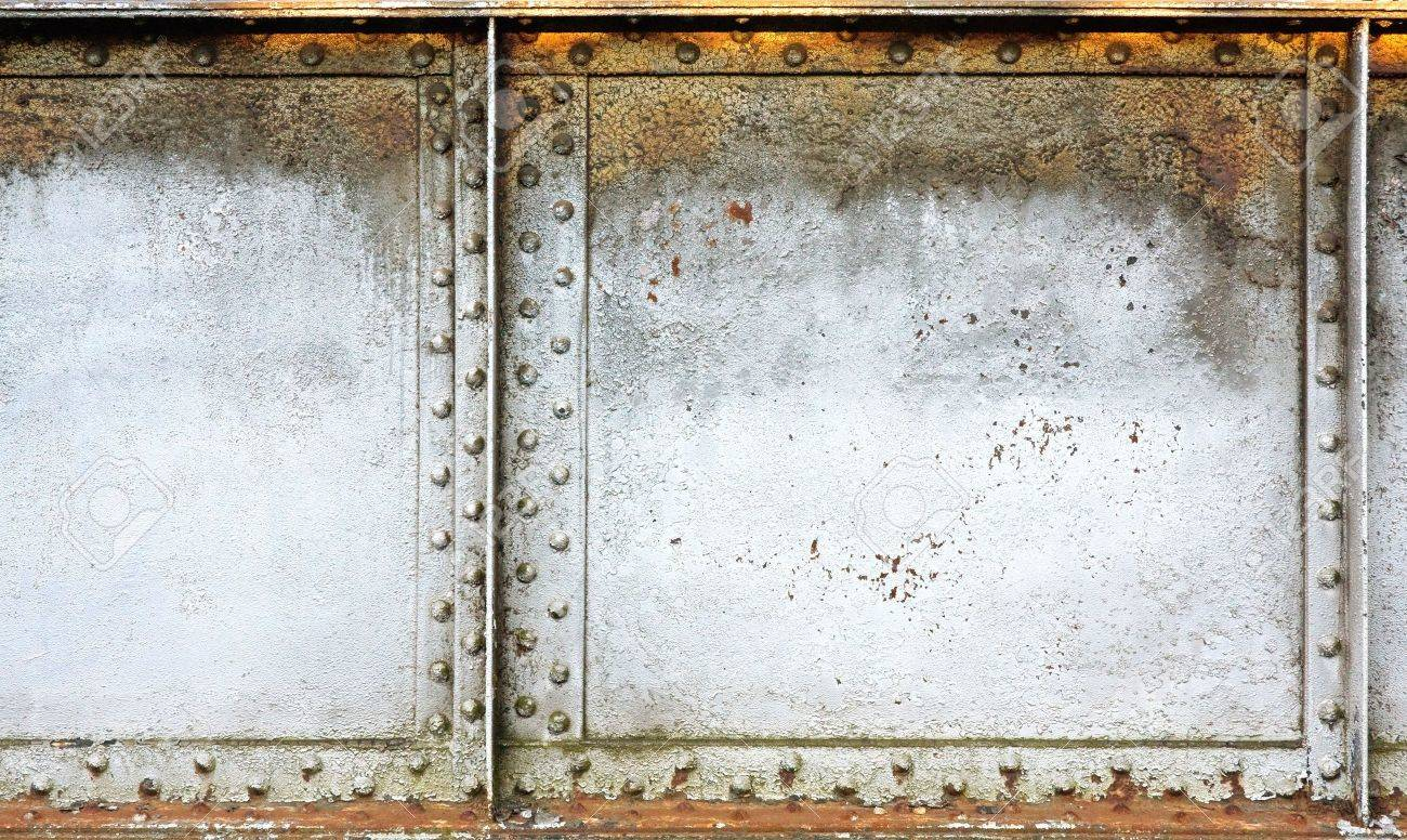 Painted grunge metal background with rivets and panels. Stock Photo - 7276938