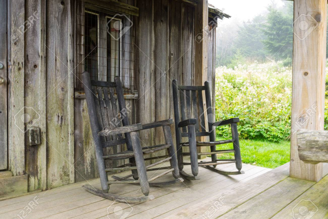 Rocking Chairs On The Porch Of A Cabin On Mt. LeConte In The Great Smoky