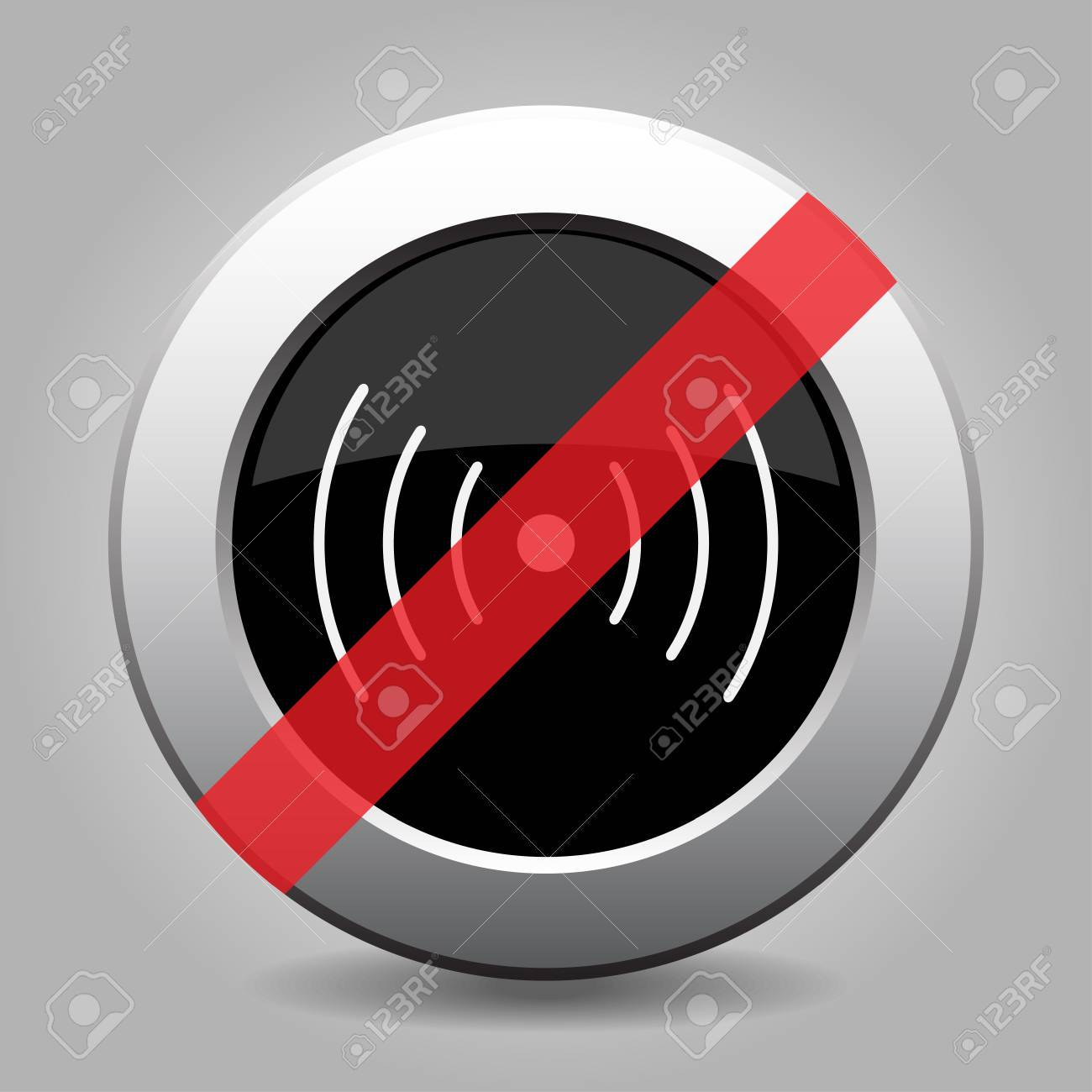 Gray Chrome Button With No Sound Or Vibration Symbol - Banned ...