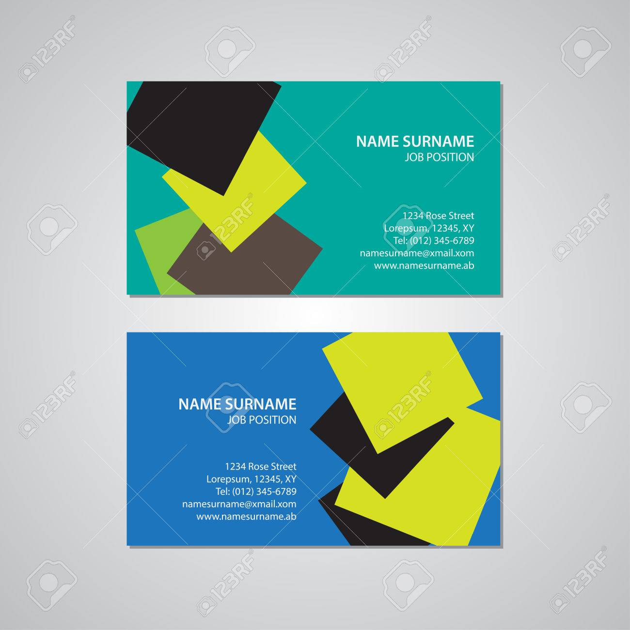 Set Of Two Business Cards, Canada And USA Standard, 3,5 X 2 In ...