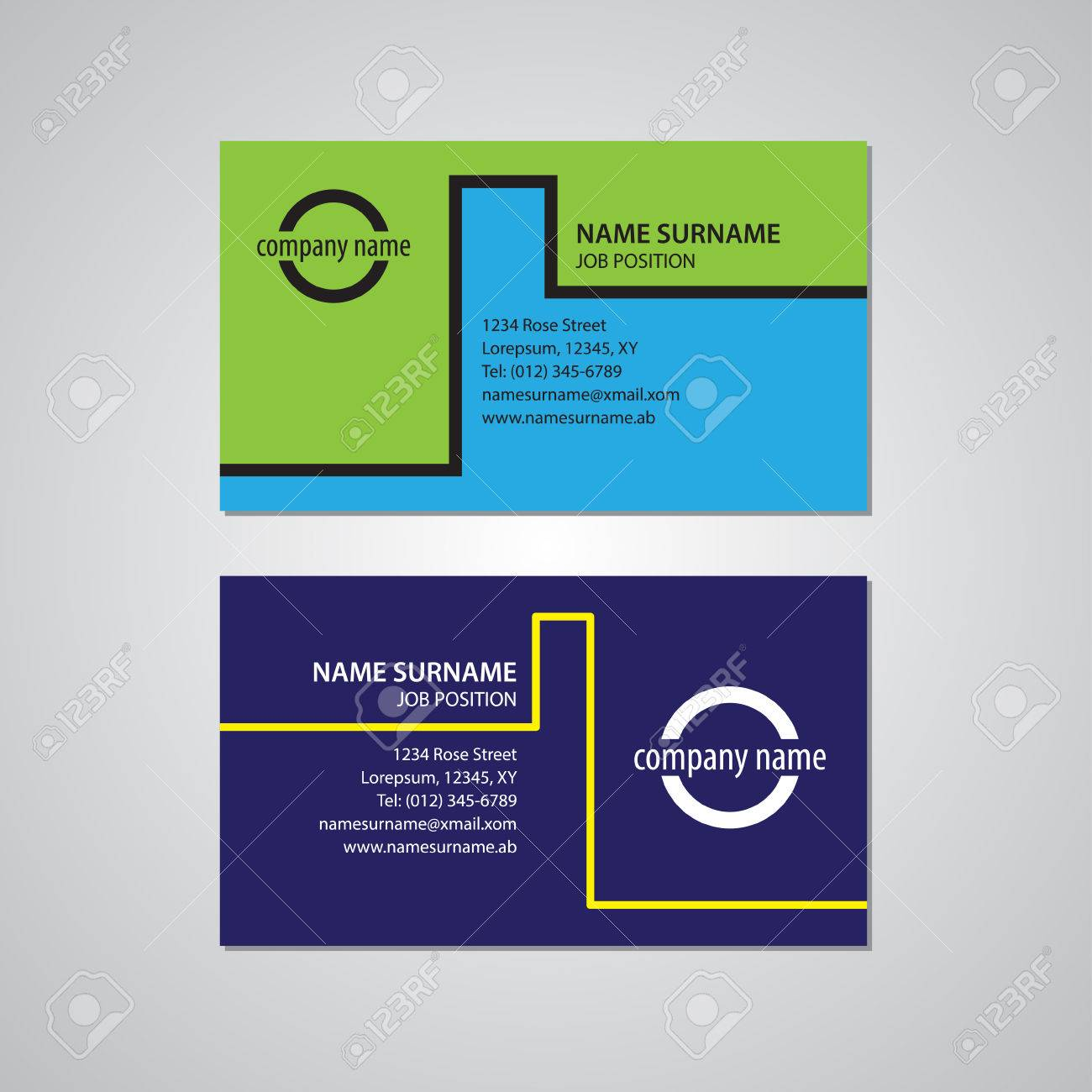 Set Of Two Business Cards Canada And Usa Standard 35 X 2