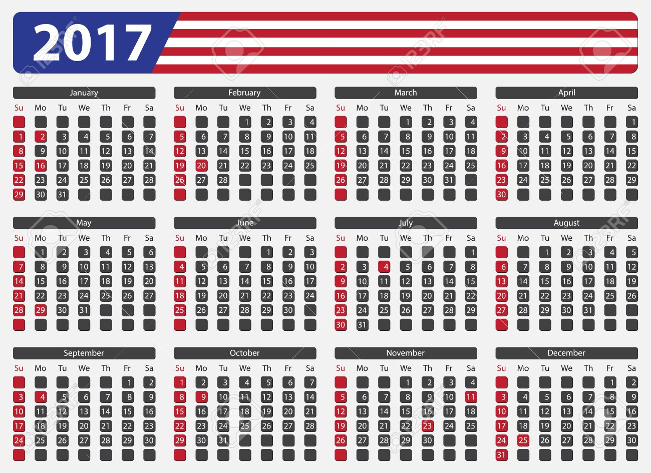 Usa Calendar 2017 Official Holidays And Non Working Days Week
