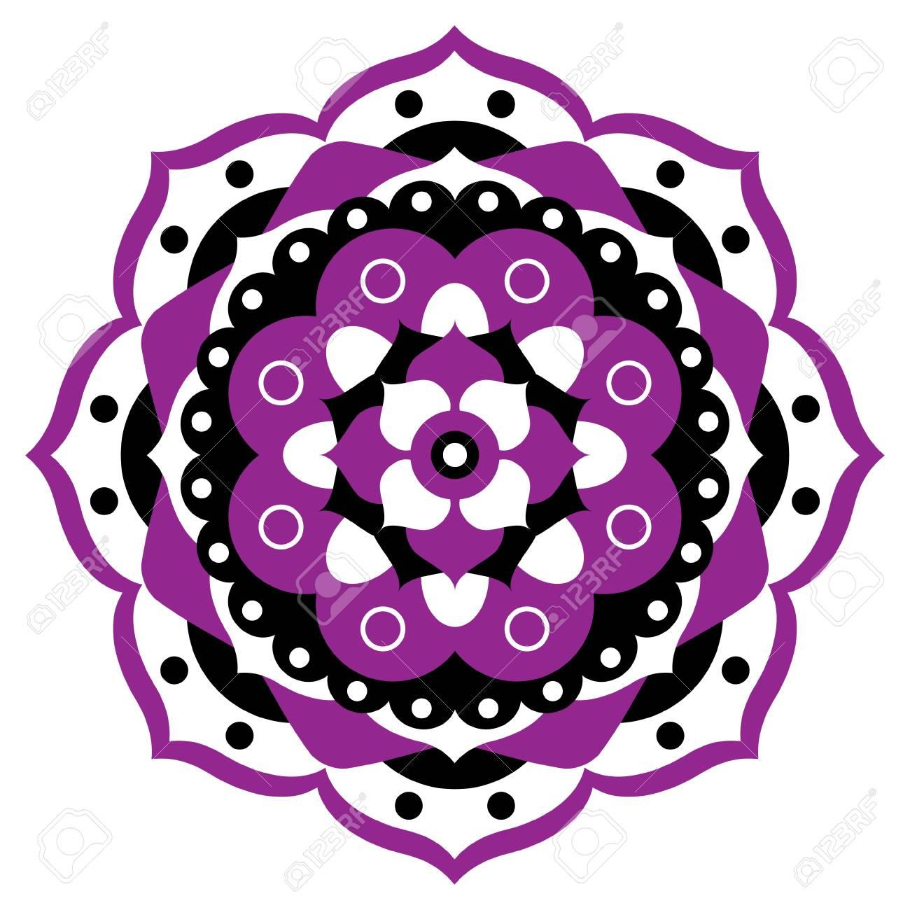 Violet Blanc Et Noir Mandala Geometrique Ornement Forme De Fleur