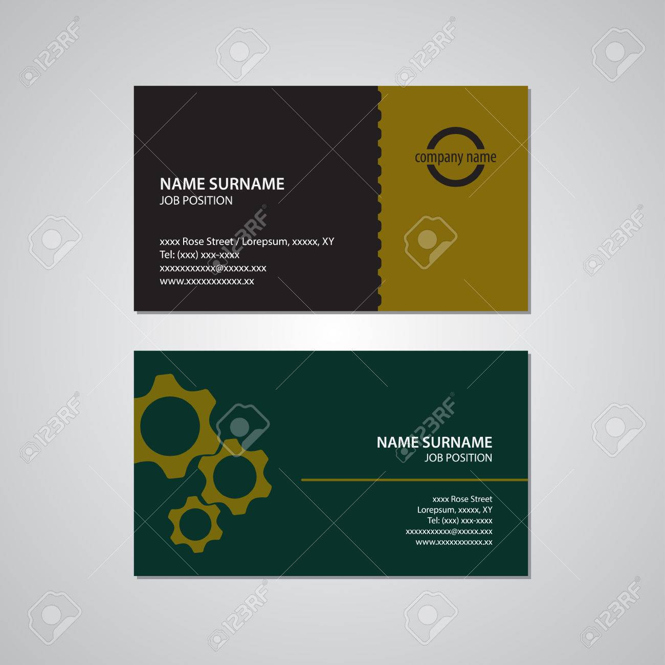 Set of two business cards gears teeth black yellow gold set of two business cards gears teeth black yellow gold reheart Images