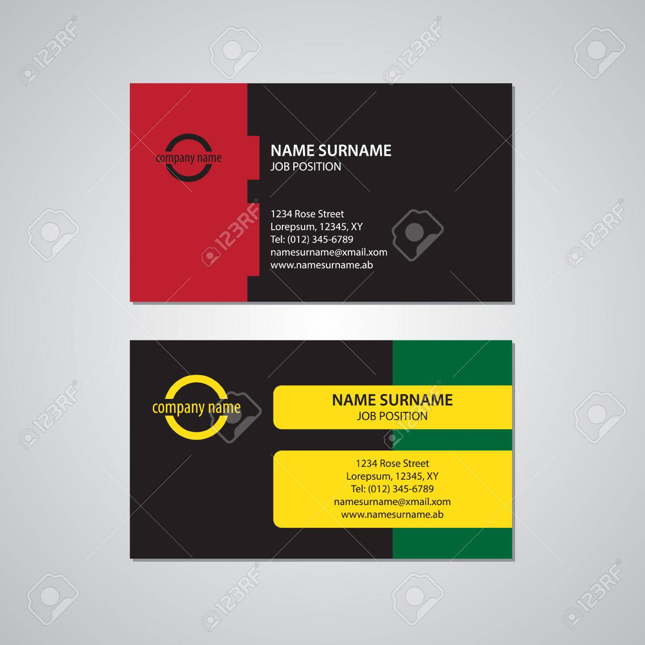 Set Of Two Colored Business Cards, Red, Green, Yellow And Black ...