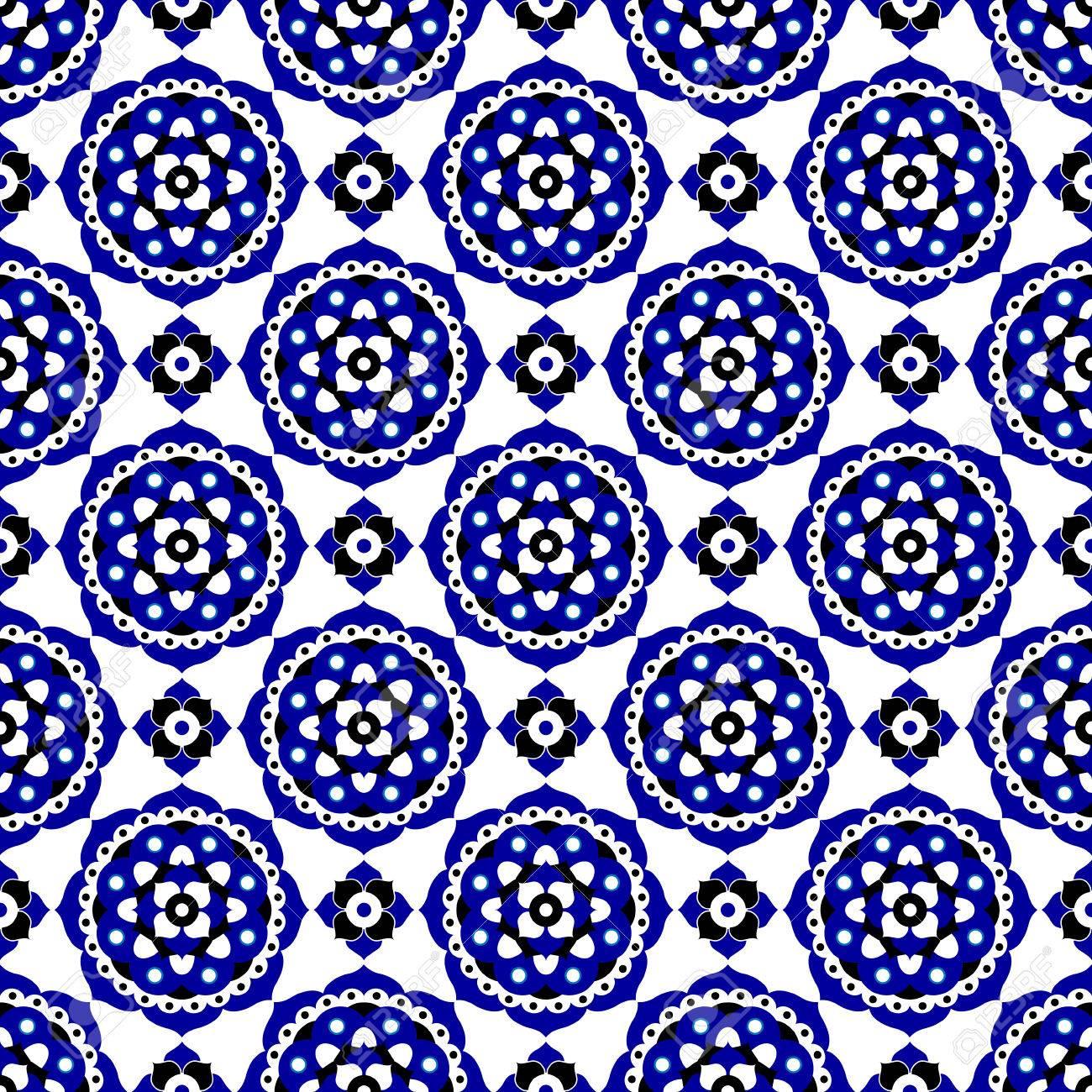 Abstrakte Nahtlose Illustration Blau Schwarz Und Weiss