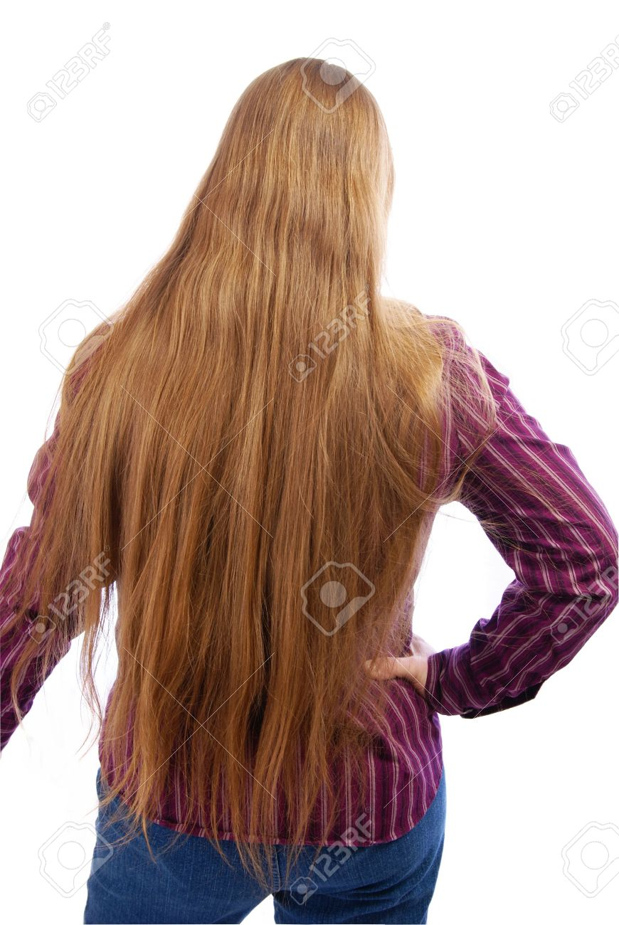 Extra long silky, golden blonde hair that reaches a woman's butt. Stock Photo - 2390667