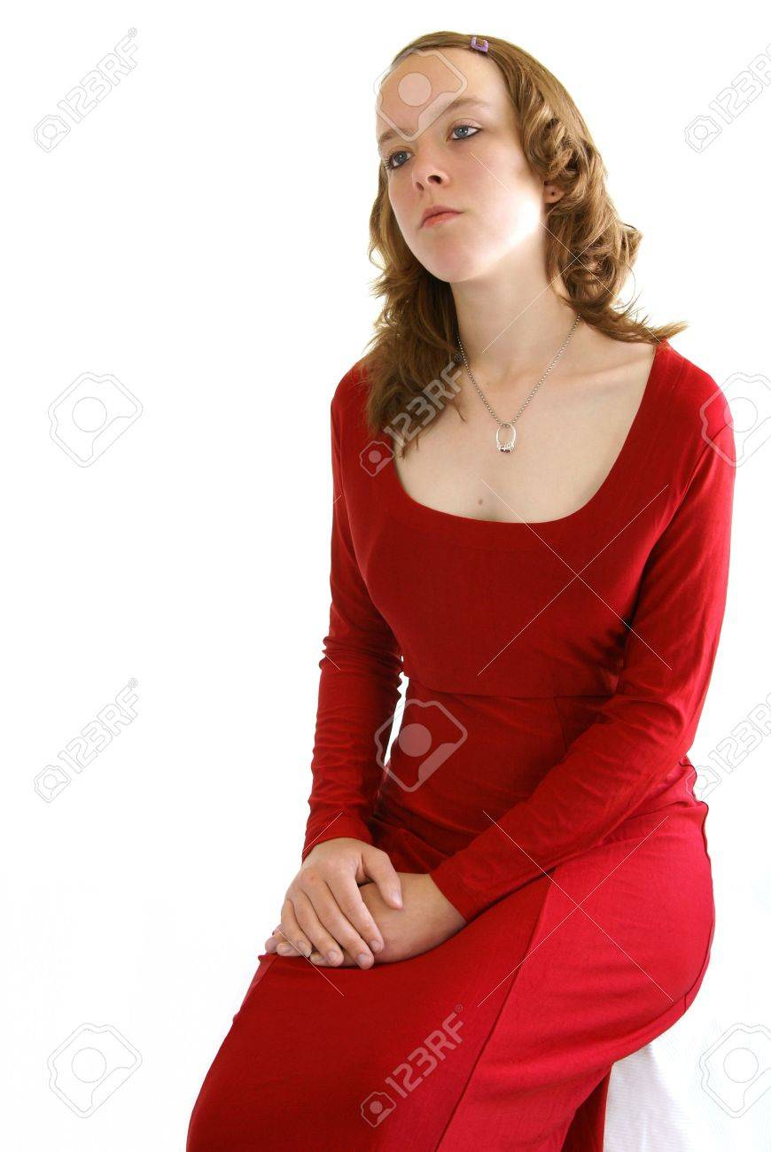 Pretty Young Woman Wearing A Red Velvet Prom Dress Or Formal Stock