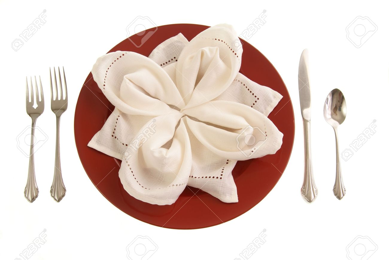 Fine Elegant Table Setting Red Plate With Cloth Napkin Folded In Download Free Architecture Designs Grimeyleaguecom