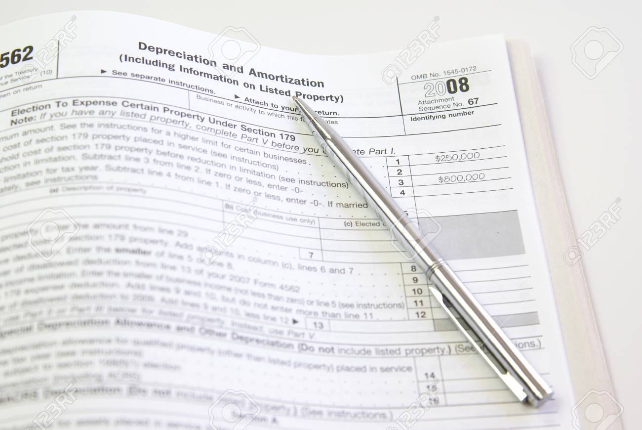 Depreciation And Amortization Tax Form, United States Stock Photo ...