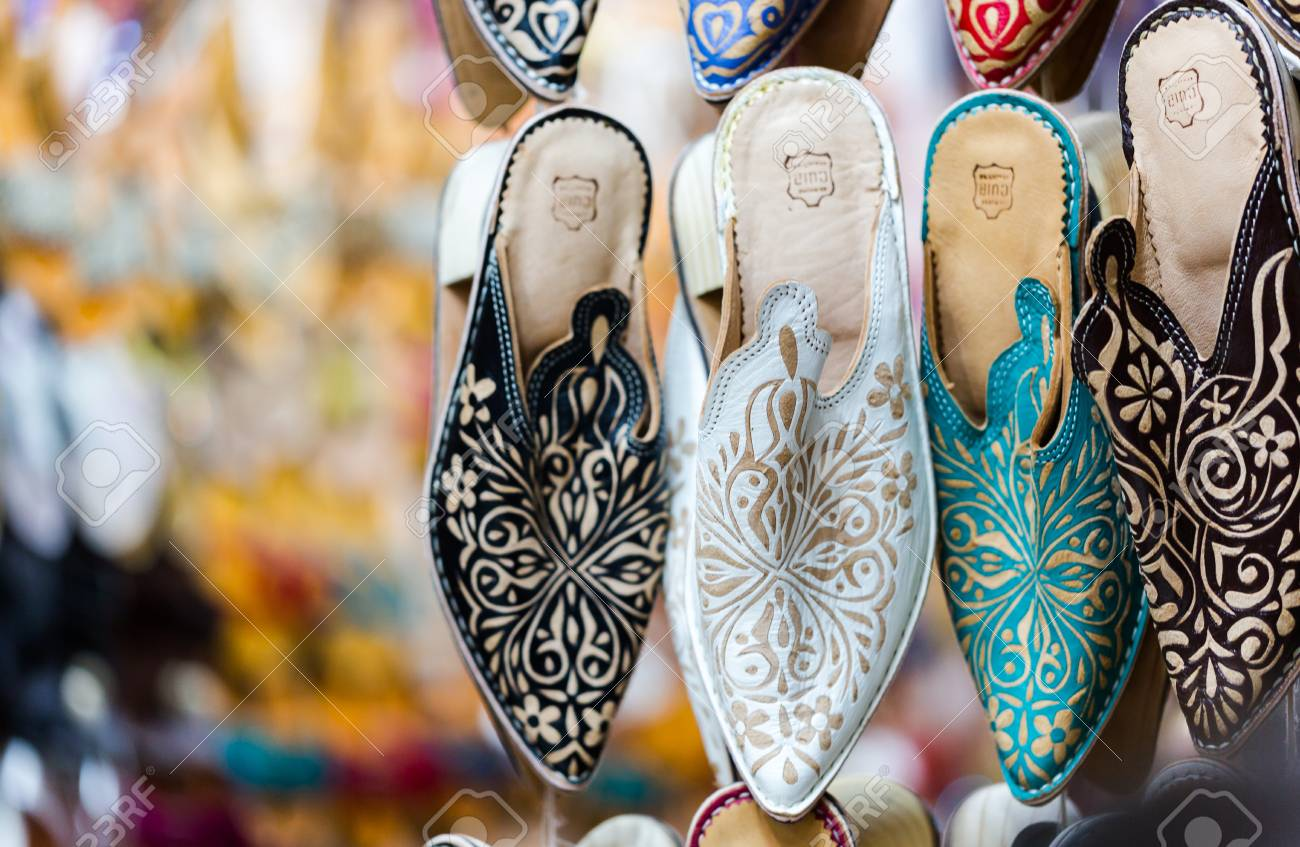 dda79bfca914 Multi vibrant colours of Marrakesh represented in handmade shoes for sell  on Marrakech souke in old