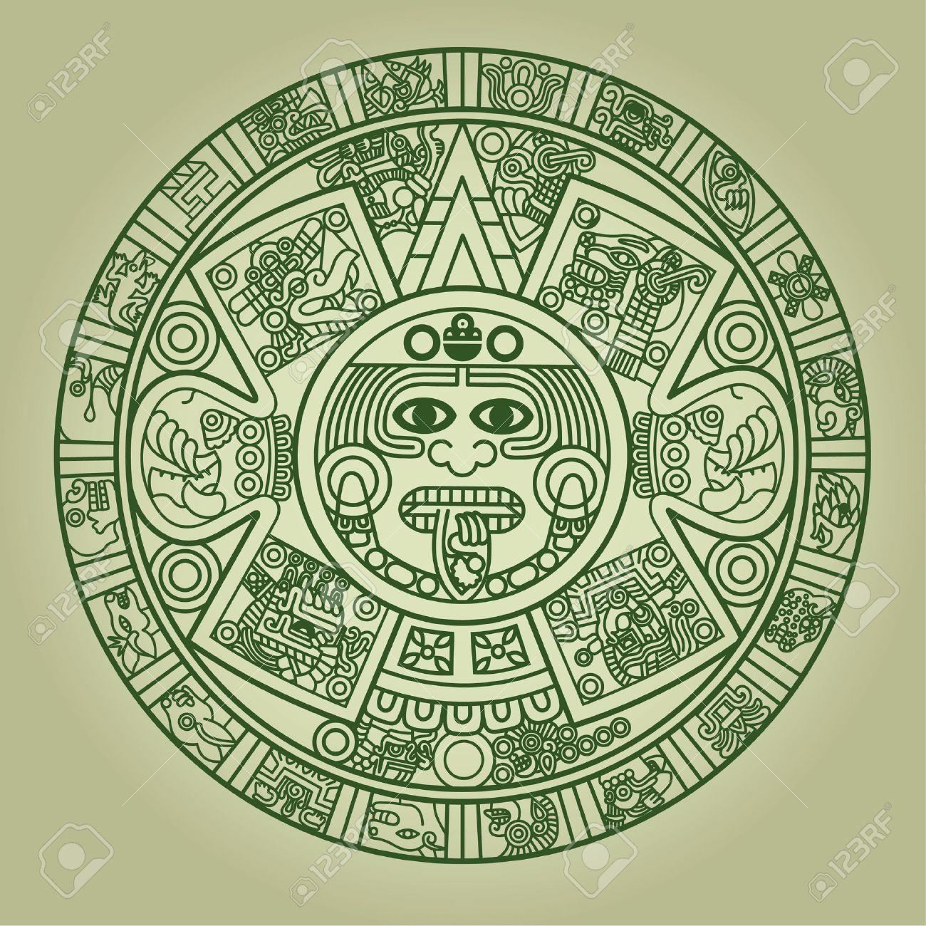 Calendario Azteca.Estilizada Calendario Azteca En Color Verde Ilustracion
