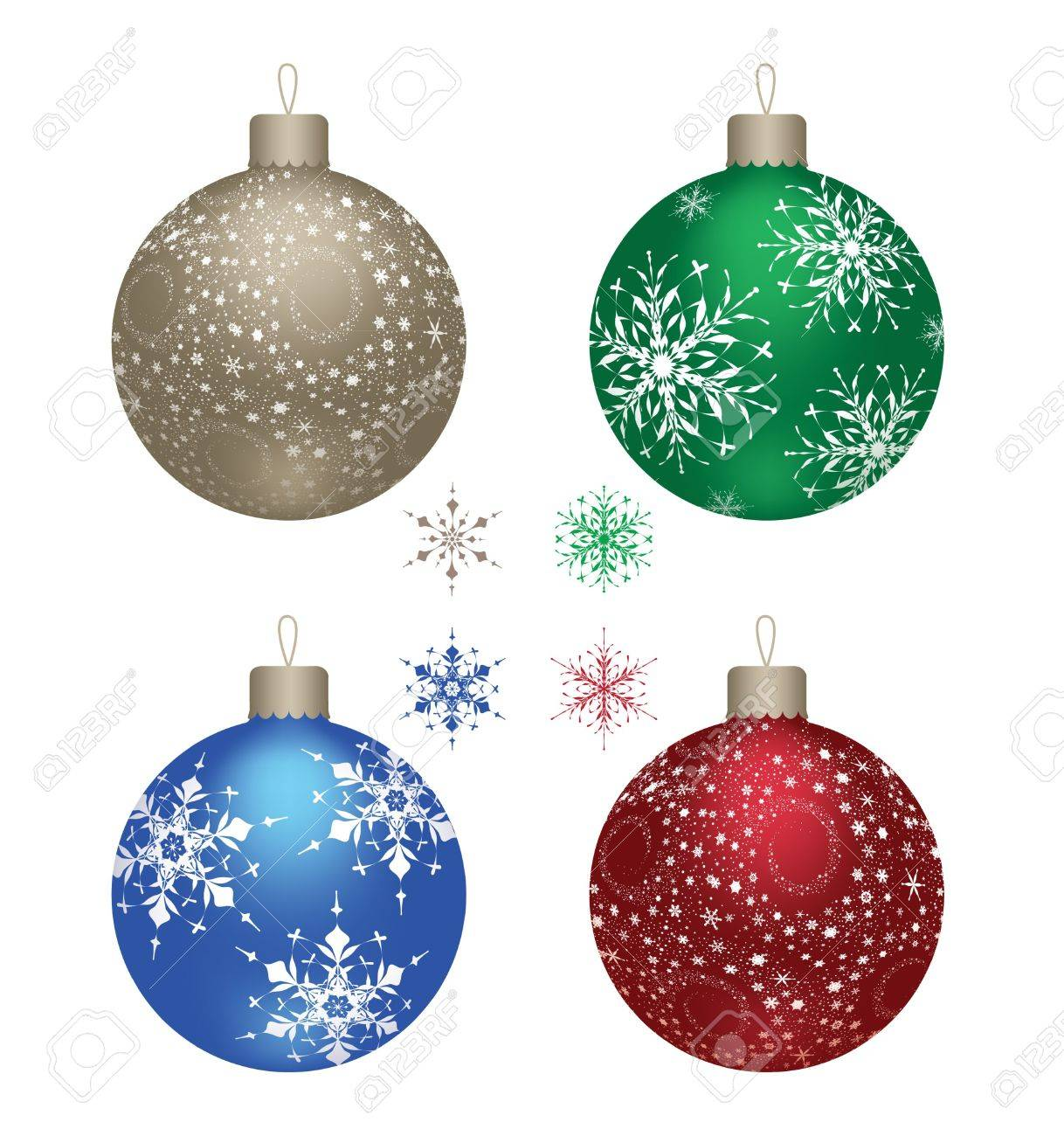 Blue Gold Red And Green Christmas Balls On A White Background Vector Stock