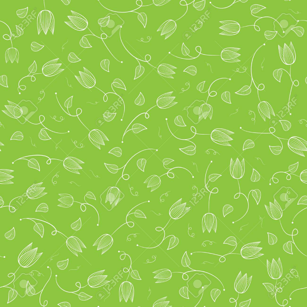 Floral Seamless Vector Background With Tulip Flowers Vector