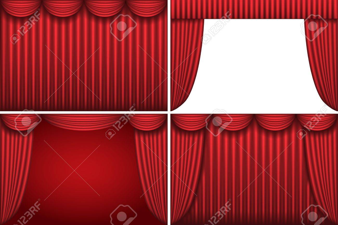 Four backgrounds with red theater curtains Stock Vector - 9207289