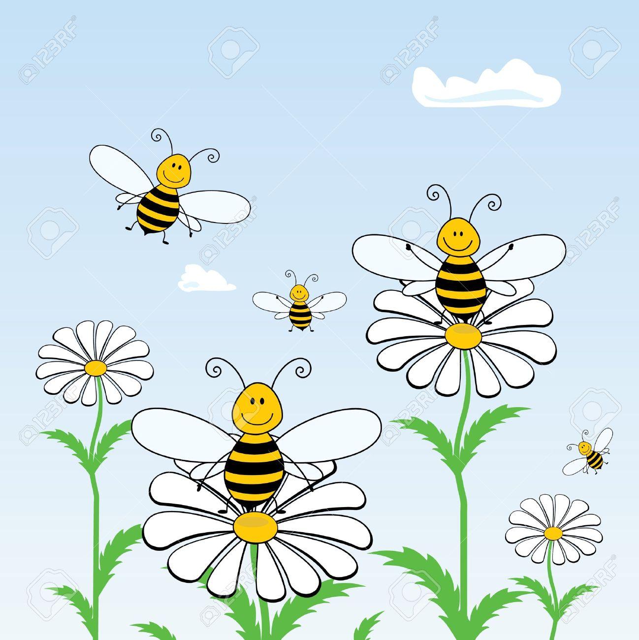 Cartoon bees on the flowers against the sky, vector Stock Vector - 9476112
